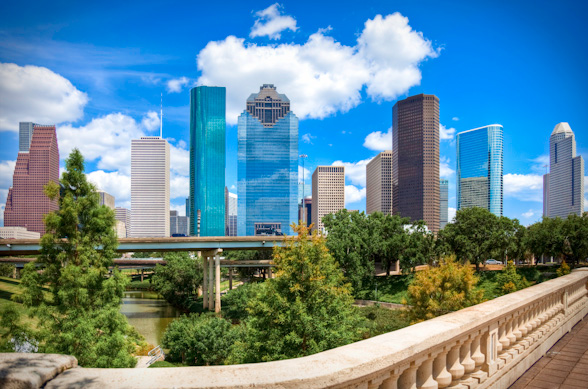 HDR Photo of Downtown Houston Texas Day Cityscape