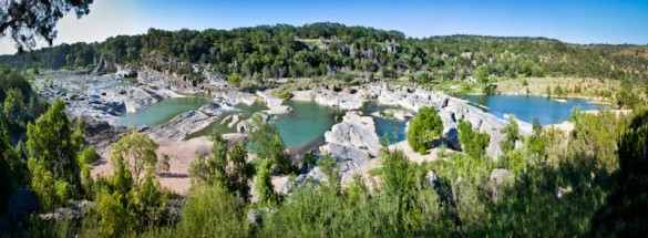 Panoramic Picture of the Pedernales River at Pedernales Falls State Park